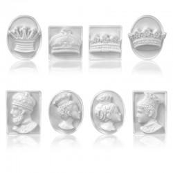 Rois Et Reines - Série de 8 fèves  blanches en porcelaine - Prime