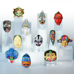 Tribal & Ethnic Masks - Série de 12 fèves en porcelaine - Prime