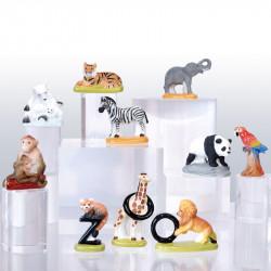 Zoo, préservation et protection - Série de 10 fèves en porcelaine