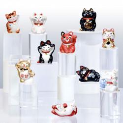 Maneki Neko, Chat porte-bonheur - Série 10 fèves en porcelaine - Prime